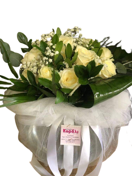 μπουκέτο λευκά τριαντάφυλλα
